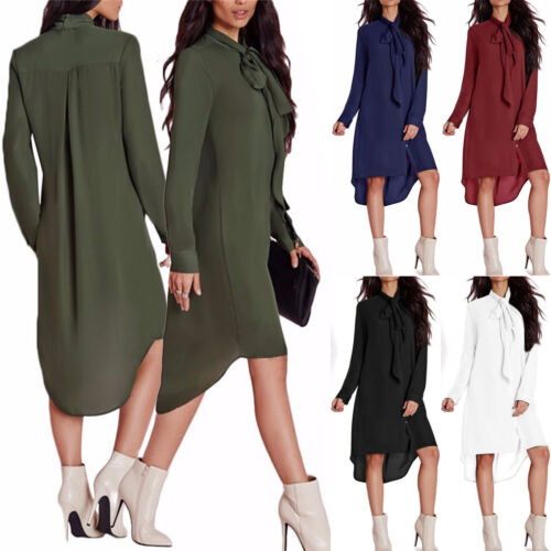 Dress - Women Long Shirt Dress Chiffon Button up Loose Asymmetric Tunic Blouse Plus Size