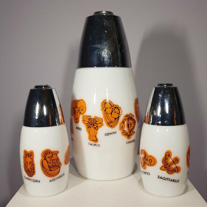 Vintage Gemco Orange Zodiac Horoscope Salt Pepper Sugar Shakers Set Milk Glass