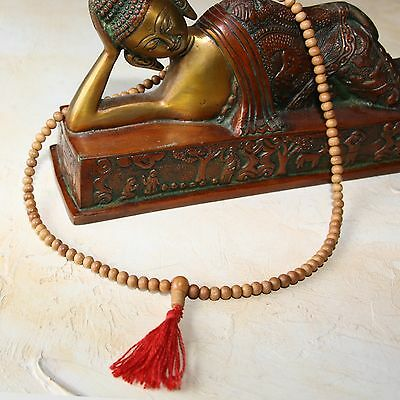 Sandalwood Mala Prayer Chain India Buddhism Om Chain 50 CM Buddha 6mm