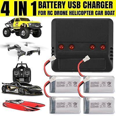 4pcs 3.7V 600mAh Lipo Battery W/Charger For Syma X5C F5C X5SW RC Drone Kids Play