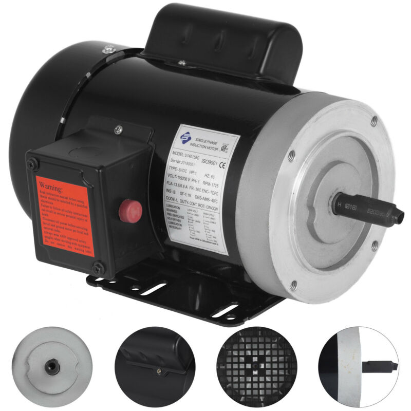 1 hp electric motor 56C 1 phase TEFC 1800rpm General Rated 1725RPM 13.6/6.8A