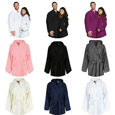 Luxury Hooded Bath Robe 100% Terry Cotton Toweling Dressing Gown Spa LightWeight