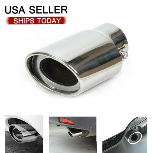 Car Chrome Stainless Steel Rear Exhaust Pipe Tail Muffler Tip Round Accessories Car & Truck Parts