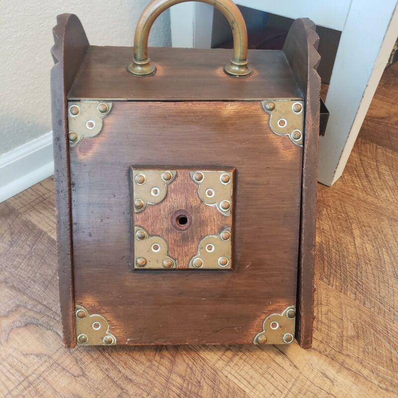 Antique Wood Brass Accents Coal Shuttle Fireplace Ash Box Hod Hearth Scuttle