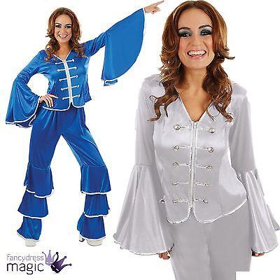 Ladies Womens 70s Disco Diva Pop Dancing Queen Fancy Dress Flare Costume Outfit