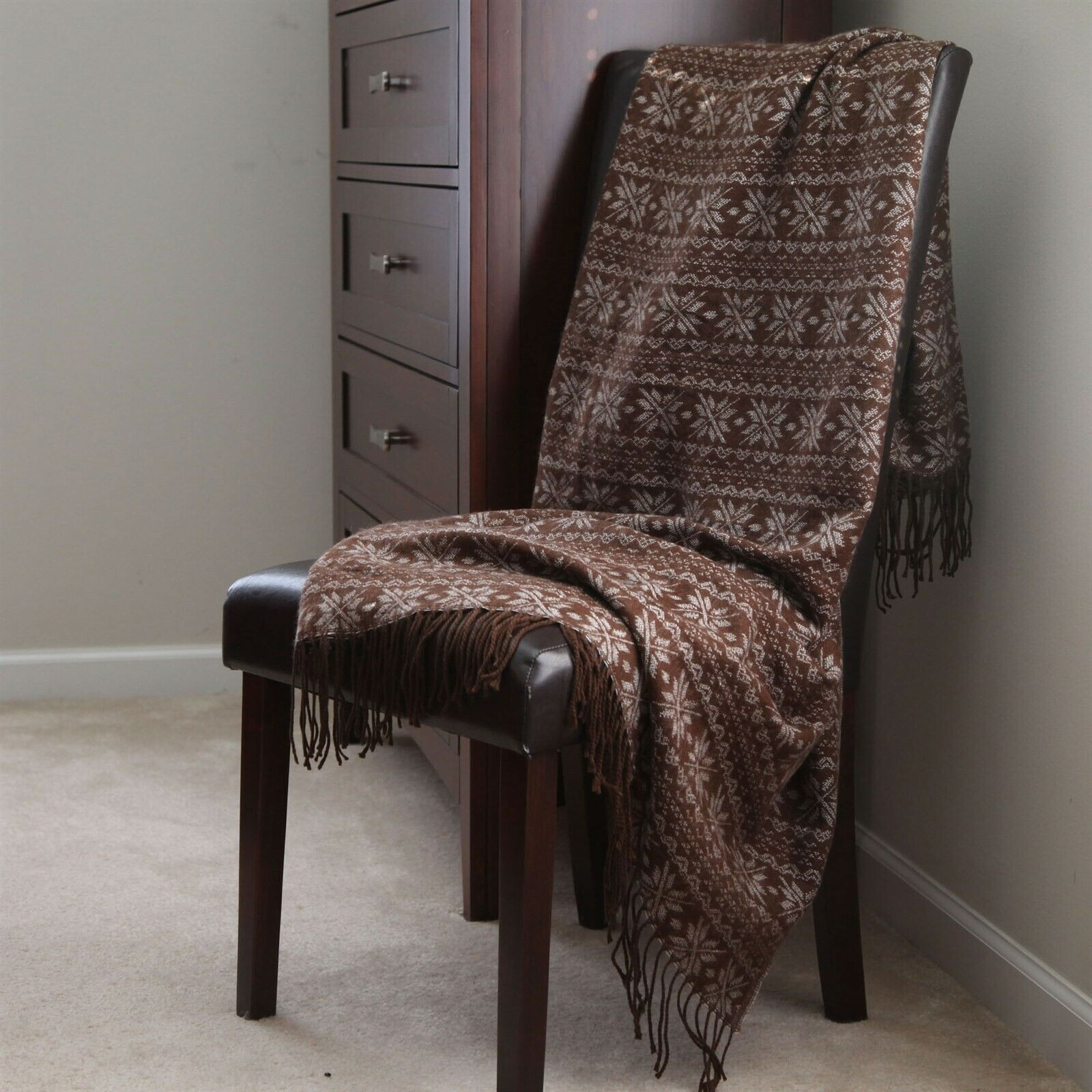 Lavish Home Jacquard Blanket Throw 50 x 60 - Brown