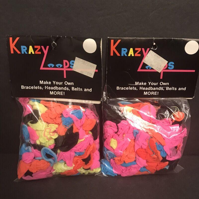 Vtg Lot: 2 NOS Krazy Loops Packages Neon Nylon Hot Weaving Loom Craft Bracelets