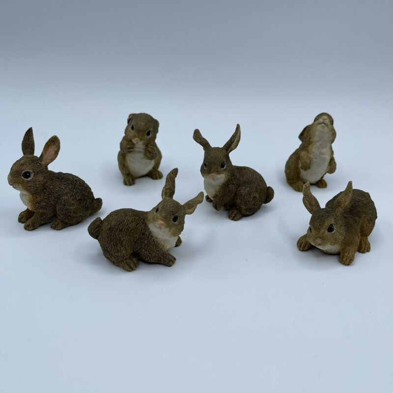 Set Of 6 Bunny Rabbits Resin Nature Whimsical Spring Small Flaw