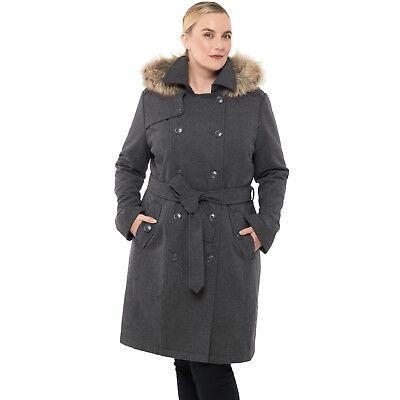 Alpine Swiss Women's Parka Trench Pea Coat Belt Jacket Fur Hood Reg & Plus Sizes