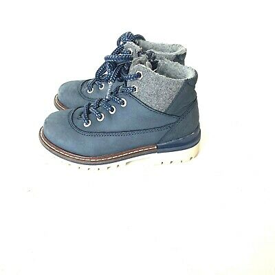 Zara Boys Leather Boots Kids 26 EU Blue lace up side zip lined shoes