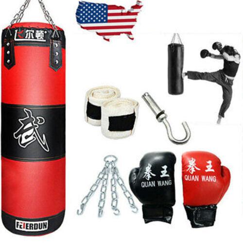 Full Heavy Boxing Punching Bag (Empty) Training Gloves Set Kicking Workout GYM