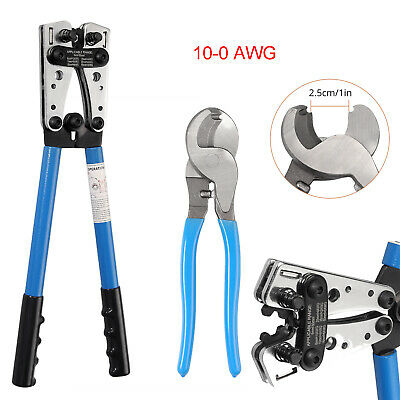 For 10-0awg Battery Cable Lugs Crimping Tool Wire Cable Lug Crimpercable Cutter