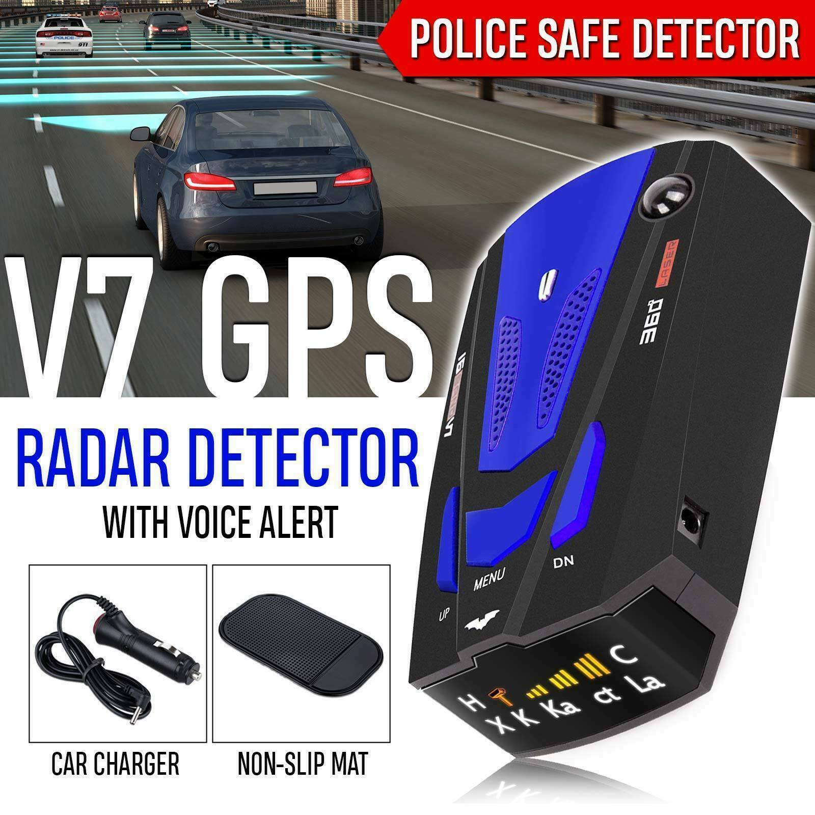 V7 360 Degrees Bands Car Radar Detector GPS Speed Police Safety Voice Alert 12V