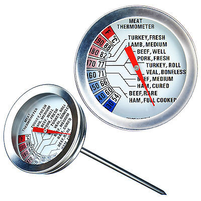 VonShef Stainless Meat Thermometer Food Cooking Poultry Steak Temperature Probe