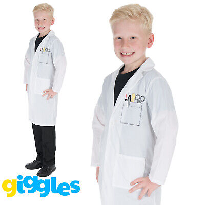 Childrens Lab Coat (Girls & Boys White Lab Coat Doctors Nurses Hospital Childs Fancy Dress)