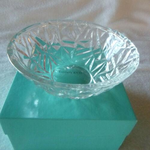 """Tiffany & Co Rock Cut Crystal 6"""" Bowl with Tiffany Box"""