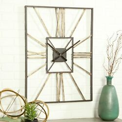 Large Wall Clock 31.5 in Large Metal Modern Decor Art Roman Numbers Living Room