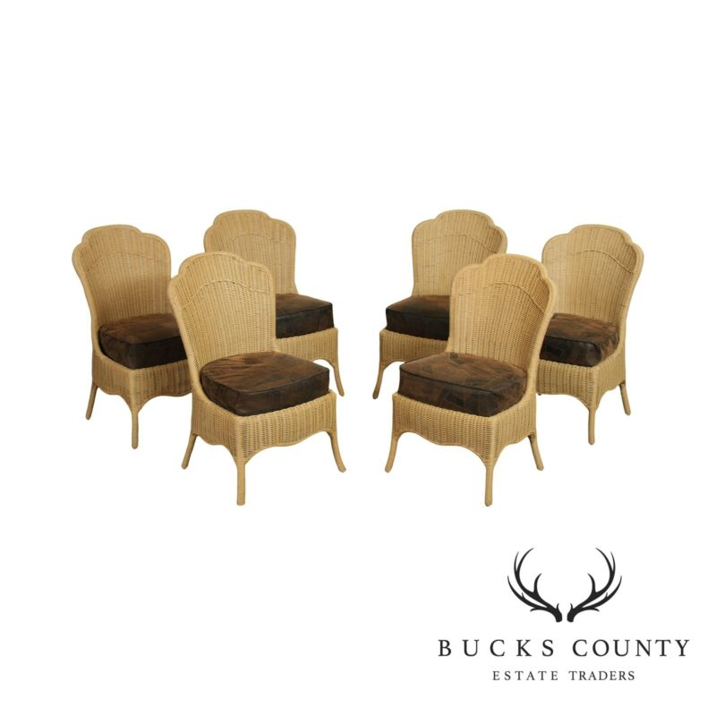 Ficks Reed Quality Wicker Set 6 Dining Chairs
