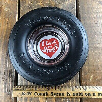 Vintage FIRESTONE TIRE Ashtray I LOVE MY STONES Akron Ohio Rolling