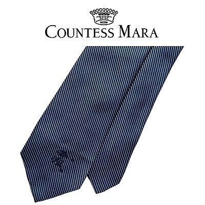 1960s – 70s Men's Ties | Skinny Ties, Slim Ties Countess Mara Blue 1960's Tie - Light Blue Stripes On Blue Vintage 100% Silk  $25.99 AT vintagedancer.com