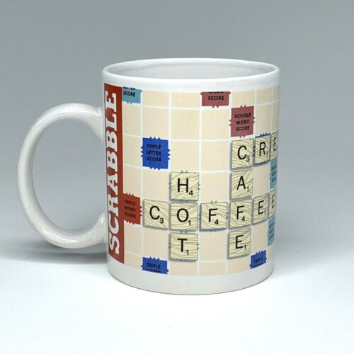Scrabble 2015 Collectible Coffee Mug Cup - White with Coffee Words - Hasbro