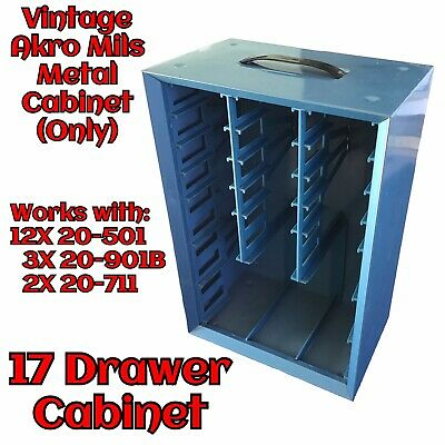 Vintage 17 Drawer Blue Metal Akro Mils Small Parts Storage Cabinet Only