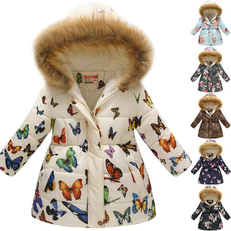 Winter Girls Kids Warm Faux Fur Coat Hooded Fluffy Parka Out