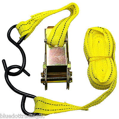 Us Seller Ratchet Tie Down Cargo Strap 1 Inch X 13 Ft With S Hook Brand New