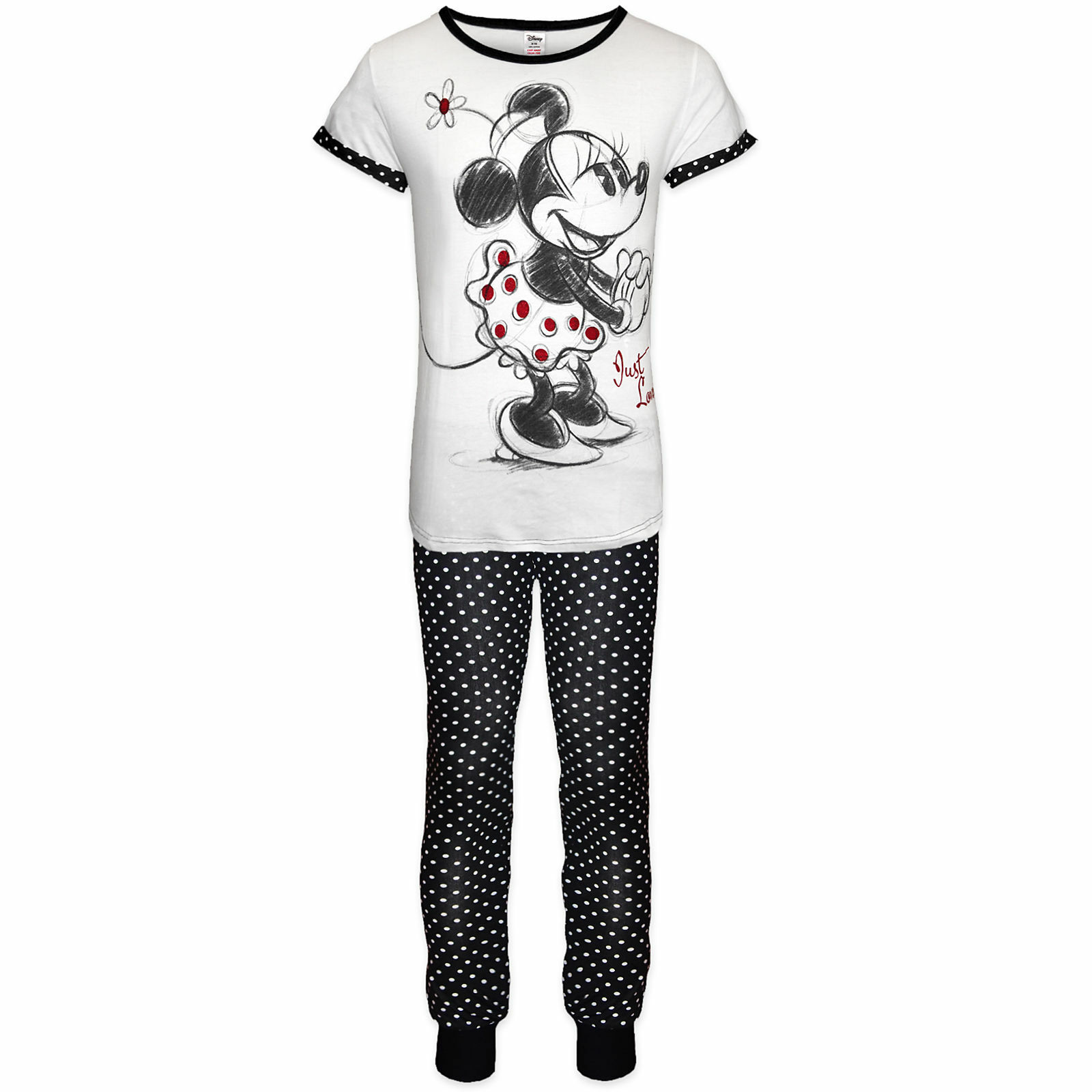 Ladies Disney Pyjamas Set Womens George Pjs Gift Cuff Leg Trousers T-Shirt Girls