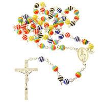Rosario Collar De Perlas 6mm Multicolor Arcoiris Acrílico Resina Católica -  - ebay.es