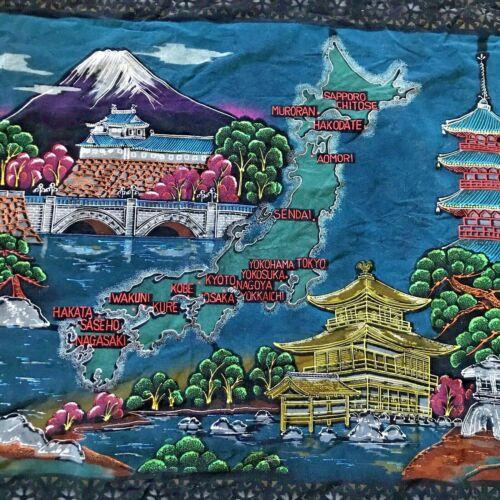 Vtg Japan Souvenir Black Velvet Wall Hanging Tapestry Map Fuji Temples Fringed