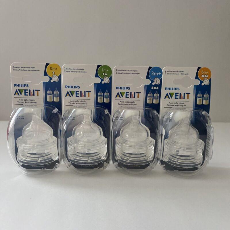 NEW Philips AVENT Anti-Colic Nipples Pack Of 2 Nipples 0m+/1m+/3m+/6m+