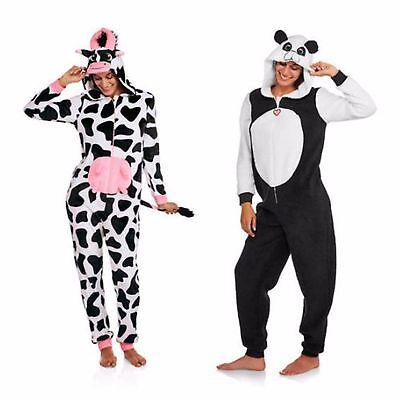 Panda One Piece Pajamas (NEW Women's Plush One-Piece Pajamas Hooded Union Suit Costume Cow Panda SZ XL)