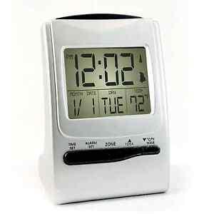 atomic travel alarm clock battery operated radio controlled f c temp backlit new ebay. Black Bedroom Furniture Sets. Home Design Ideas