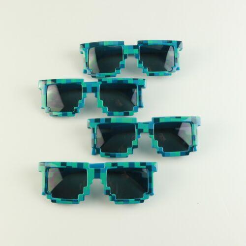 Blue Boys Wholesale 12 Pack Kids Party Goodie Bag Block Pixel Blue Sunglasses