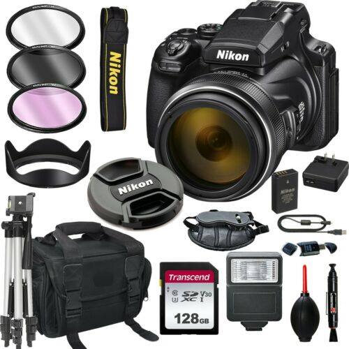Nikon Coolpix P1000 16MP 4K Digital Camera with 125x Optical Zoom + 128GB Bundle
