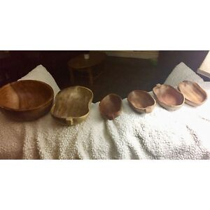 Wooden salad bowls (2) with 4 wooden serving dishes