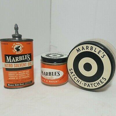 Vintage Marbles GUN OIL TIN CAN with 2 MARBLES Satchi-patches Jars. RARE