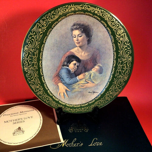 PICKARD CHINA MOTHERS LOVE PLATE PRECIOUS MOMENT SIGNED IRENE SPENCER GOLD TRIM