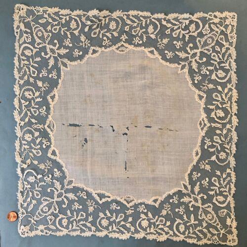 Large Victorian lace handkerchief - Brussels bobbin lace applique