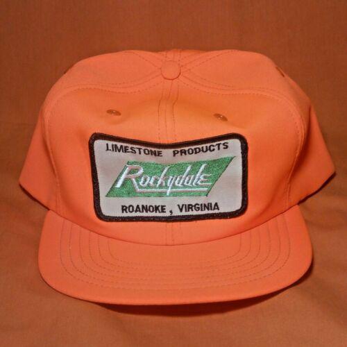 VINTAGE SNAPBACK HAT NOS Rockydale Patch 70s 80s Orange Trucker Cap Roanoke VA