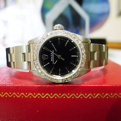 Ladies ROLEX Oyster Perpetual Black Dial & Diamond Bezel Oyster Band Watch