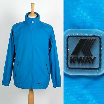 MENS K-WAY WATERPROOF CAGOULE RAIN JACKET KAGOULE PLAIN BLUE SAILING FESTIVAL M