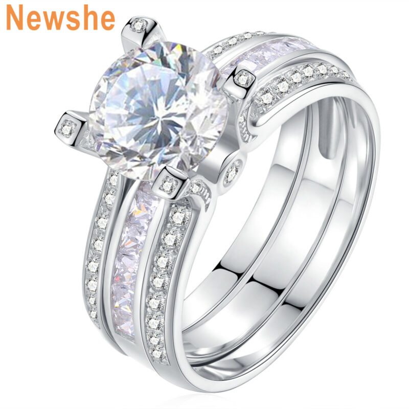 Newshe Wedding Engagement Ring Set For Women Round White Cz Sterling Silver 5-12