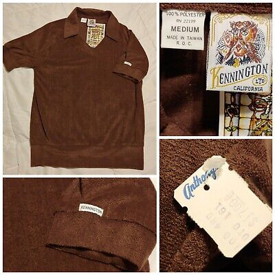 VTG NEW NOS 60s 70s Men SZ M Kennington CIGAR LOUNGE Terry Cloth Shirt Disco - Mens Disco Clothing