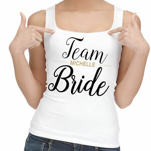 Personalised hen night wedding party Team Bride vest tank top gift.