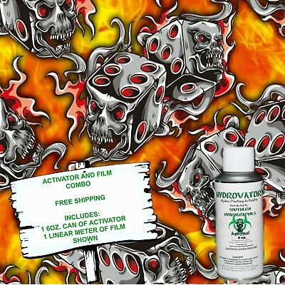 Hydrographic Film Water Transfer Hydro Dip 6oz. Activator Flaming Dice Dip Kit