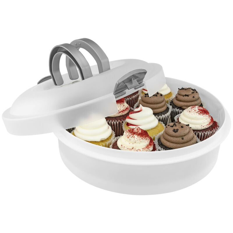 Cake Carrier 3 Sizes in 1 Round Plastic Holder for Cakes Pies Dessert Keeper