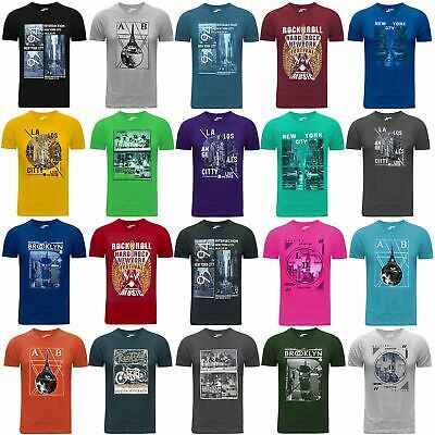 Mens T-Shirt Mens New Vintage Retro Graphic Print 100% Cotton Crew Neck New