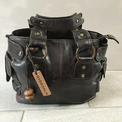 HIDESIGN Handbag Side Bag Dark Brown Leather Small Double Handles Zip Closure
